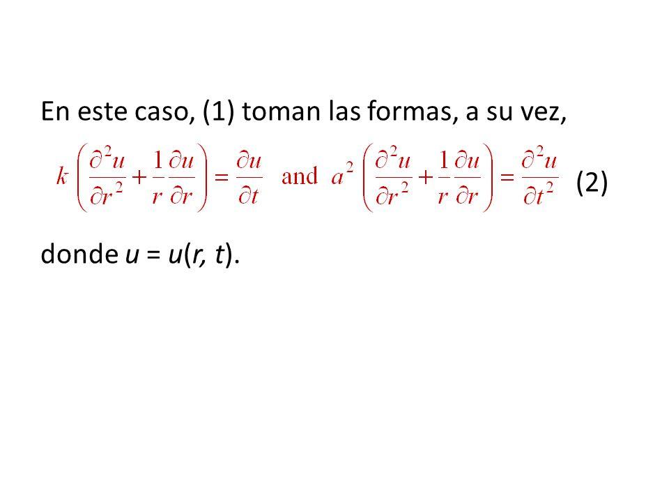 En este caso, (1) toman las formas, a su vez, (2) donde u = u(r, t).