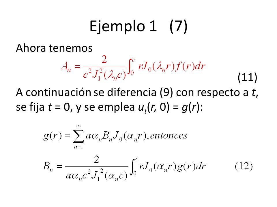 Ejemplo 1 (7) Ahora tenemos (11) A continuación se diferencia (9) con respecto a t, se fija t = 0, y se emplea ut(r, 0) = g(r):