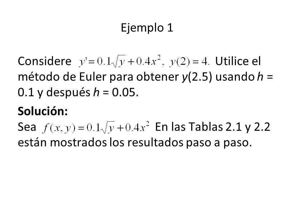 Ejemplo 1 Considere Utilice el método de Euler para obtener y(2.5) usando h = 0.1 y después h = 0.05.