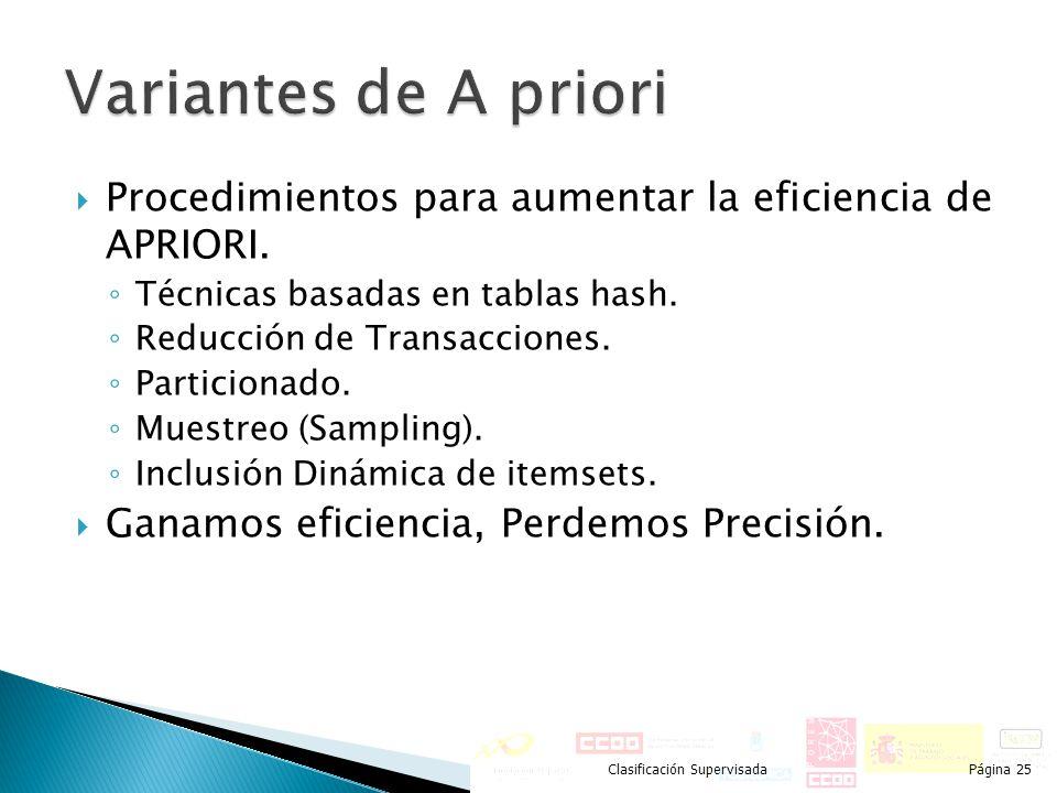 Variantes de A priori Procedimientos para aumentar la eficiencia de APRIORI. Técnicas basadas en tablas hash.