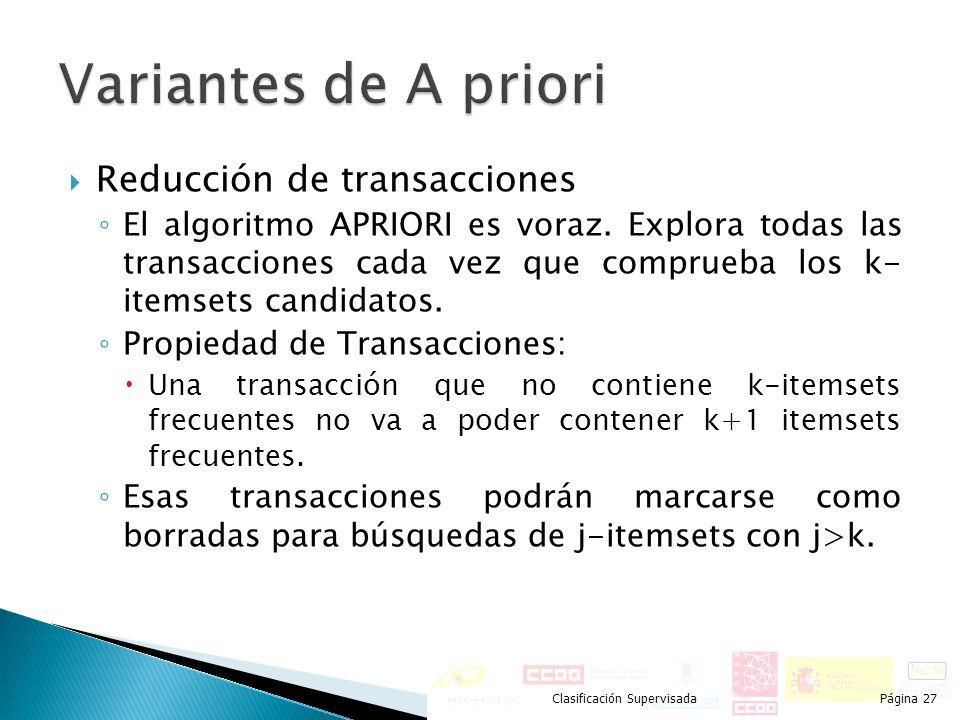 Variantes de A priori Reducción de transacciones