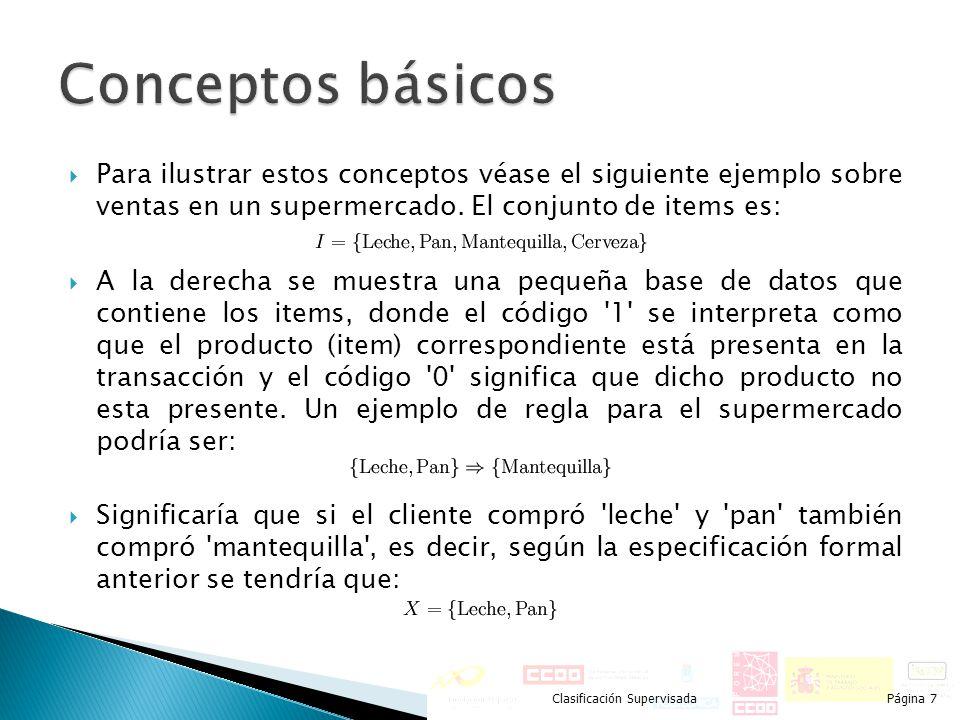 Conceptos básicos Para ilustrar estos conceptos véase el siguiente ejemplo sobre ventas en un supermercado. El conjunto de items es: