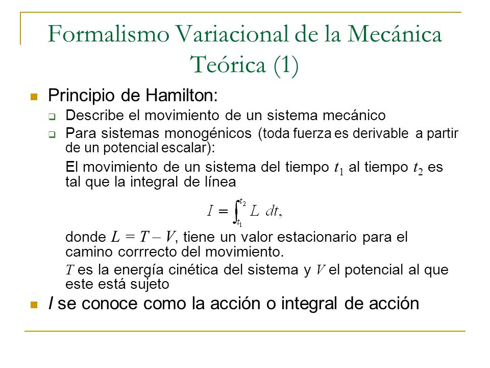 Formalismo Variacional de la Mecánica Teórica (1)