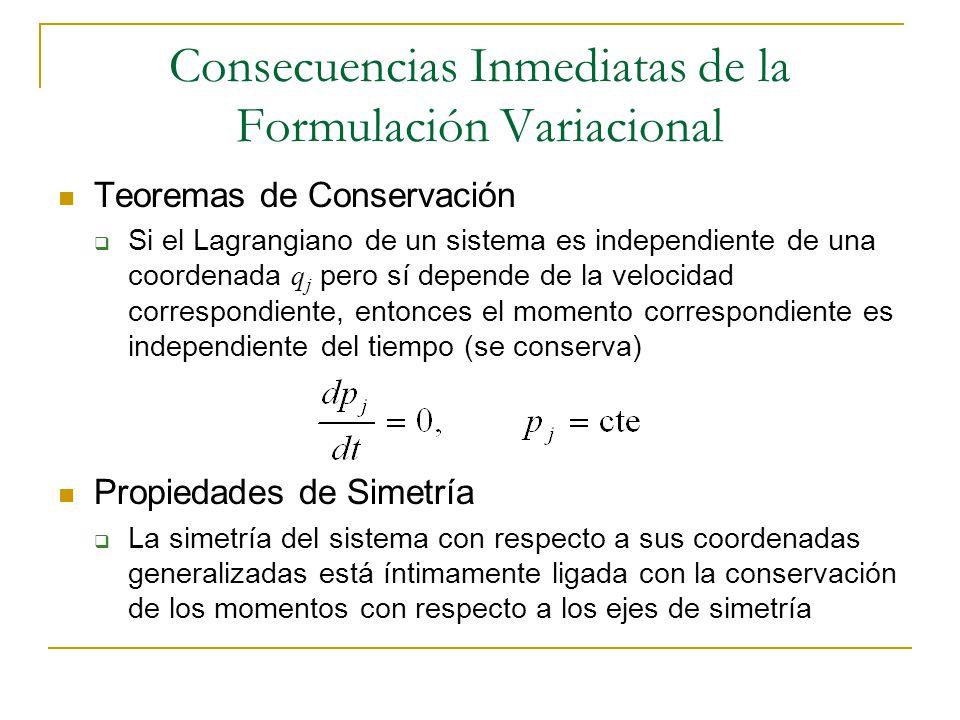 Consecuencias Inmediatas de la Formulación Variacional
