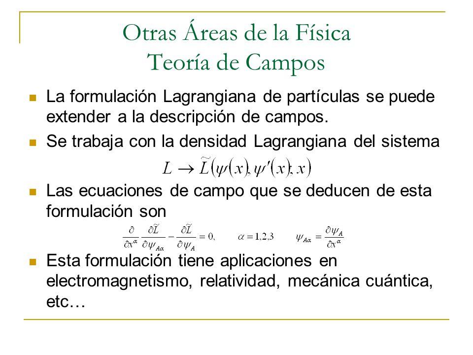 Otras Áreas de la Física Teoría de Campos