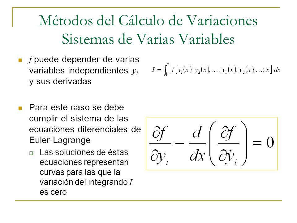 Métodos del Cálculo de Variaciones Sistemas de Varias Variables