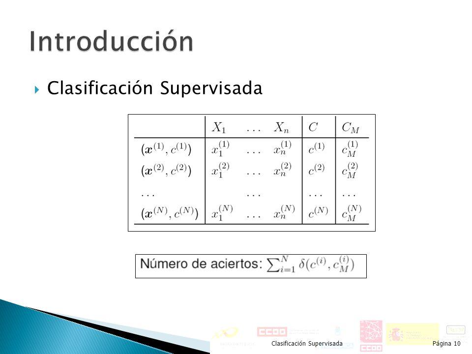 Introducción Clasificación Supervisada Clasificación Supervisada