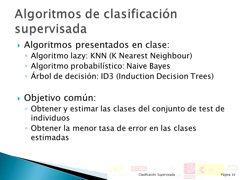 Algoritmos de clasificación supervisada
