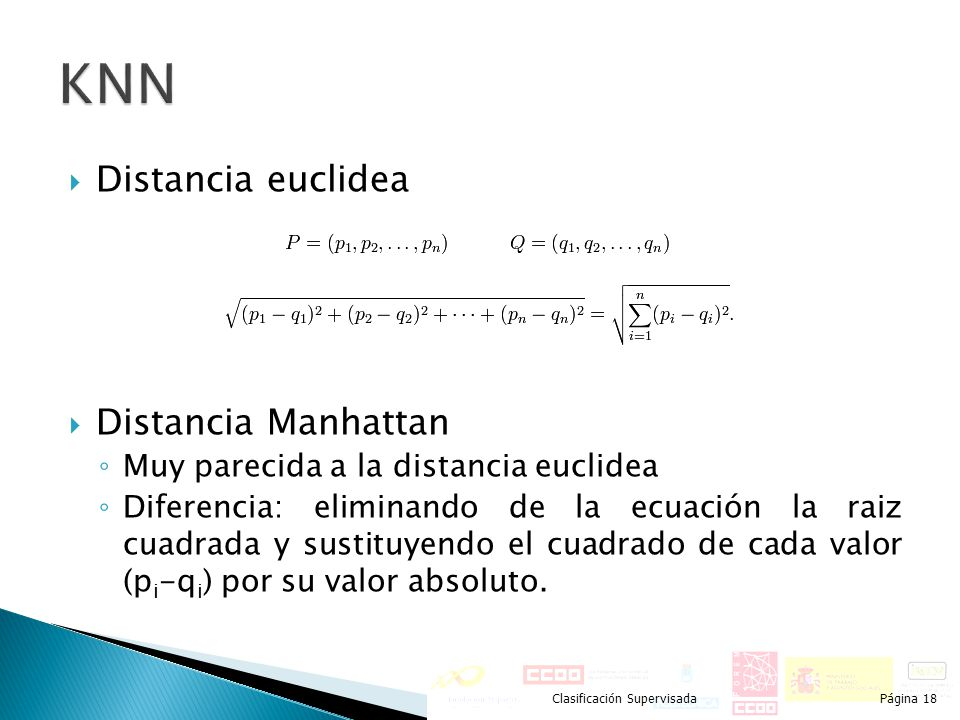KNN Distancia euclidea Distancia Manhattan