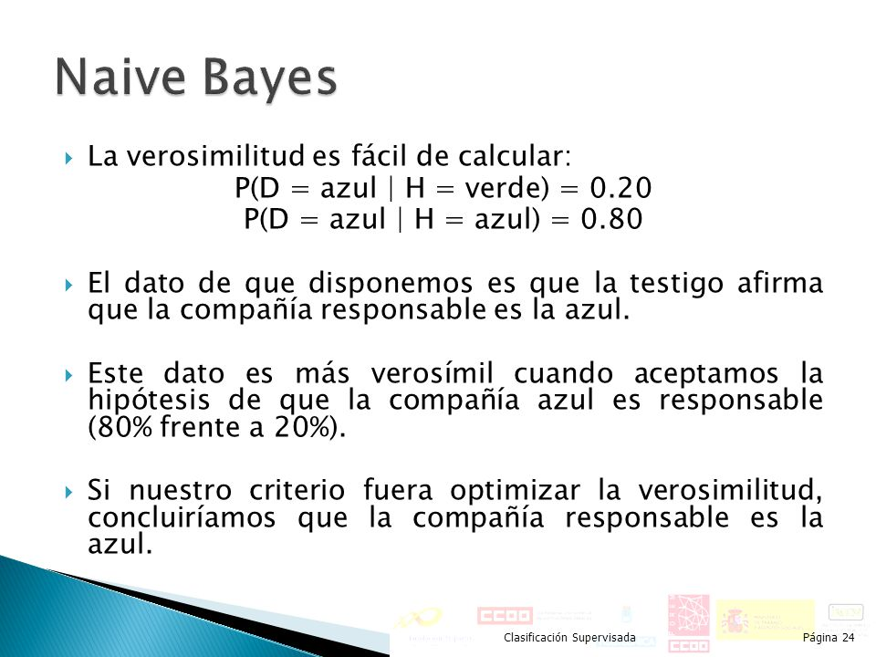 Naive Bayes La verosimilitud es fácil de calcular: