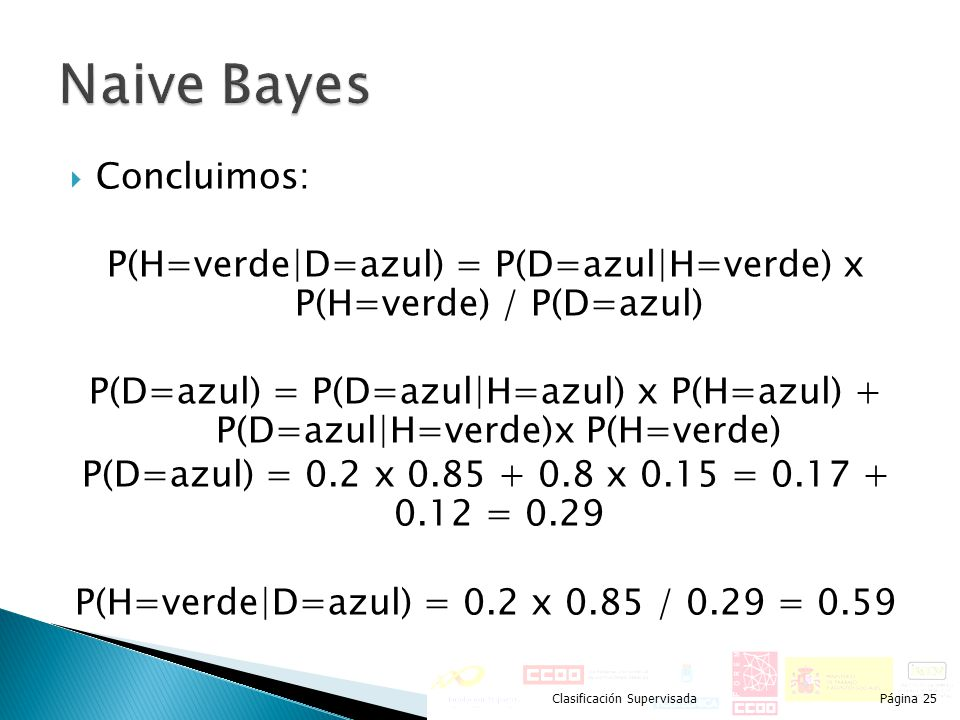 Naive Bayes Concluimos: