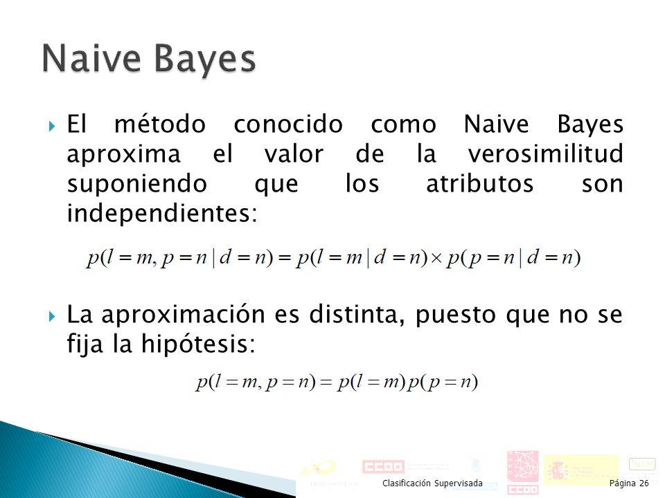Naive Bayes El método conocido como Naive Bayes aproxima el valor de la verosimilitud suponiendo que los atributos son independientes: