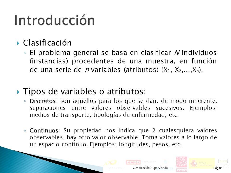 Introducción Tipos de variables o atributos: Clasificación