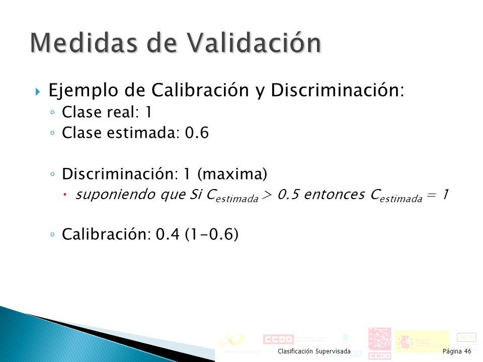 Medidas de Validación Ejemplo de Calibración y Discriminación: