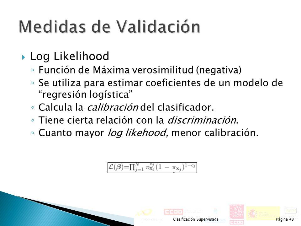 Medidas de Validación Log Likelihood