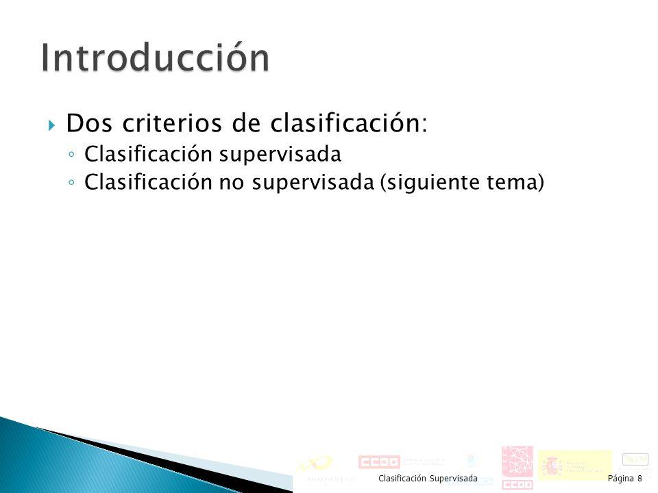 Introducción Dos criterios de clasificación: Clasificación supervisada