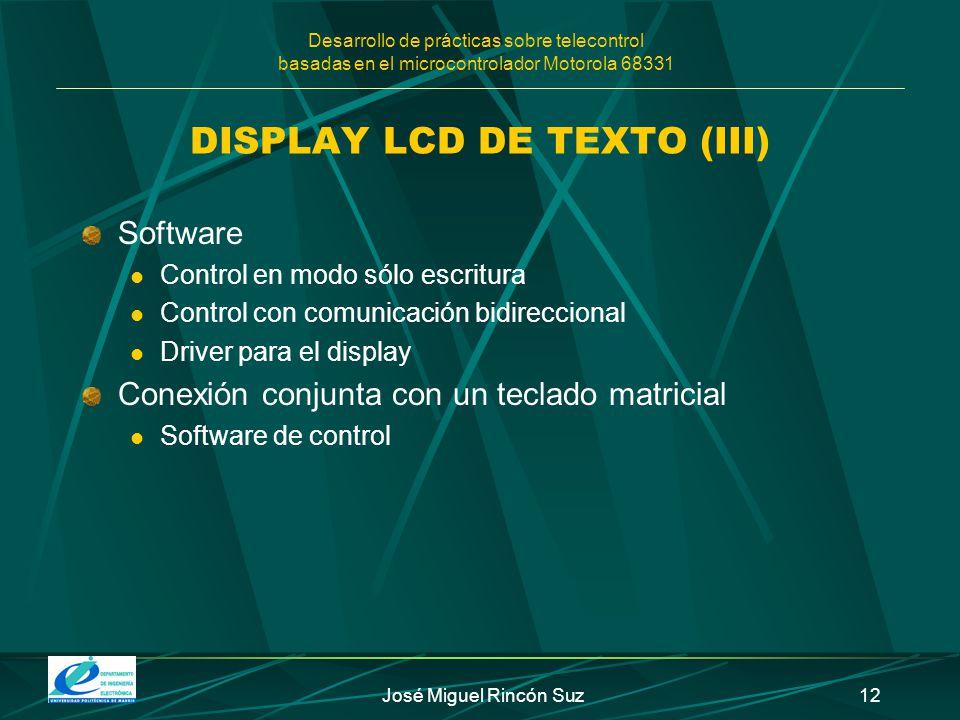 DISPLAY LCD DE TEXTO (III)