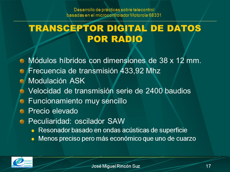 TRANSCEPTOR DIGITAL DE DATOS POR RADIO