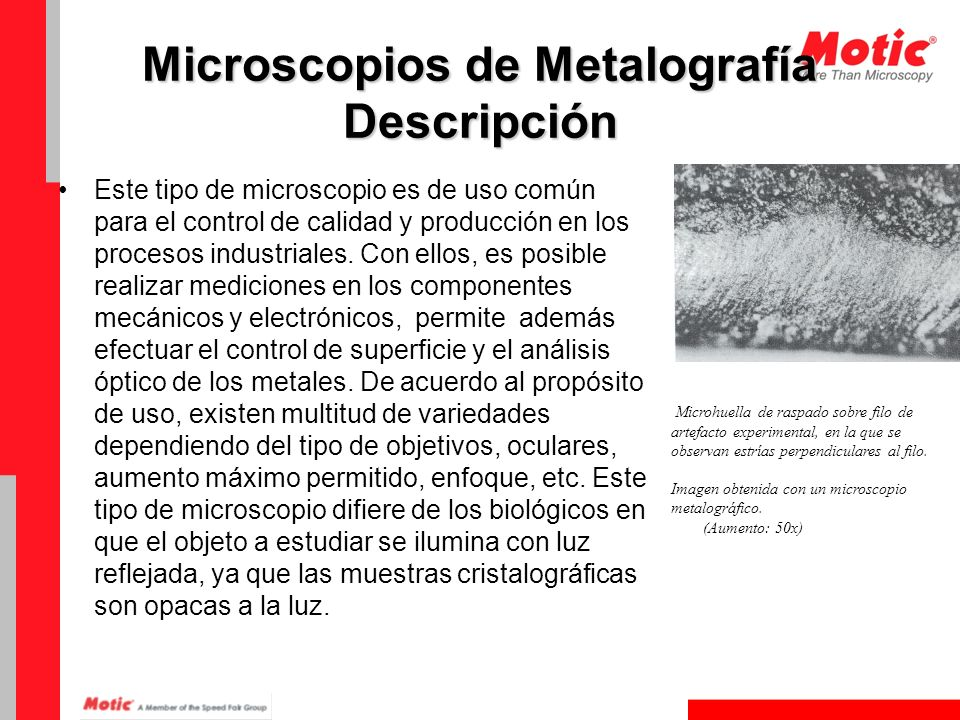 Microscopios de Metalografía Descripción