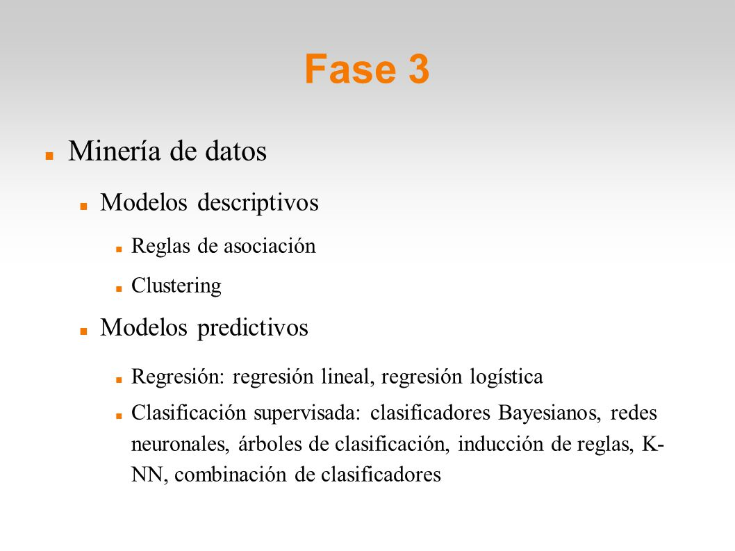 Fase 3 Minería de datos Modelos descriptivos Modelos predictivos