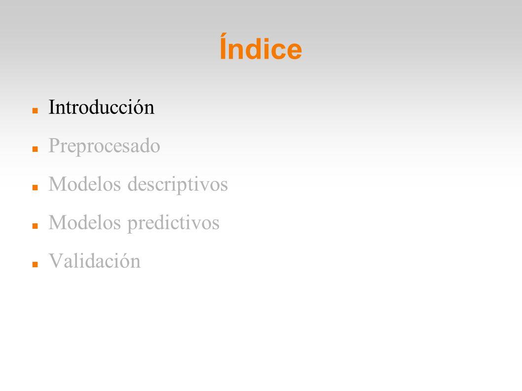 Índice Introducción Preprocesado Modelos descriptivos