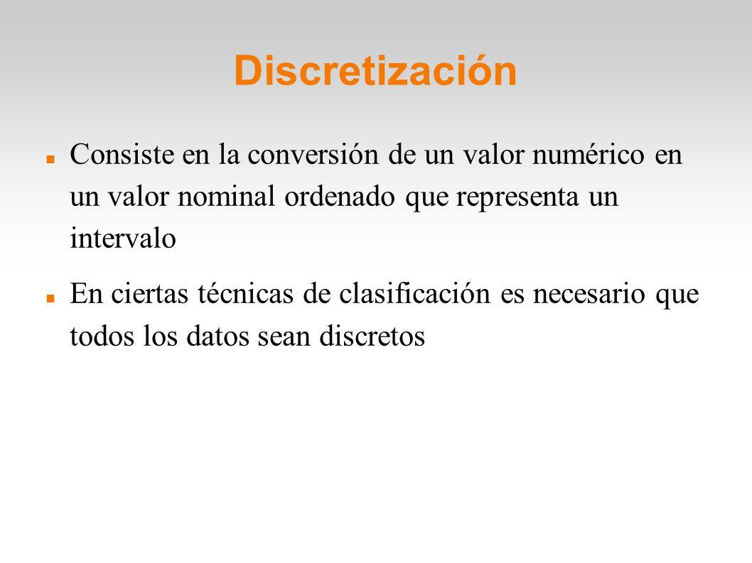 Discretización Consiste en la conversión de un valor numérico en un valor nominal ordenado que representa un intervalo.