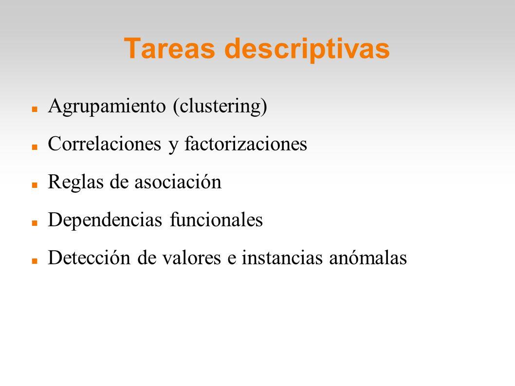 Tareas descriptivas Agrupamiento (clustering)