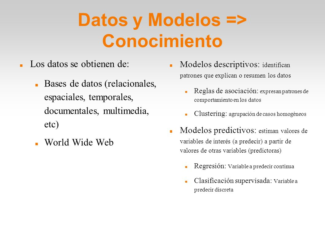 Datos y Modelos => Conocimiento
