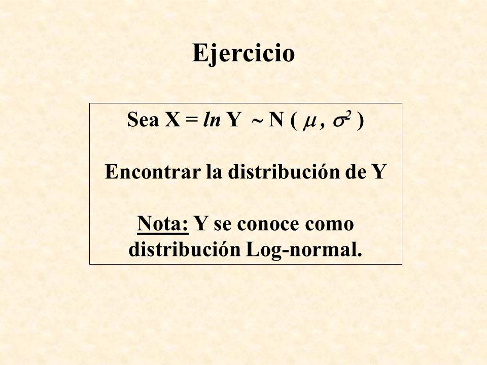 Ejercicio Sea X = ln Y  N (  , 2 ) Encontrar la distribución de Y