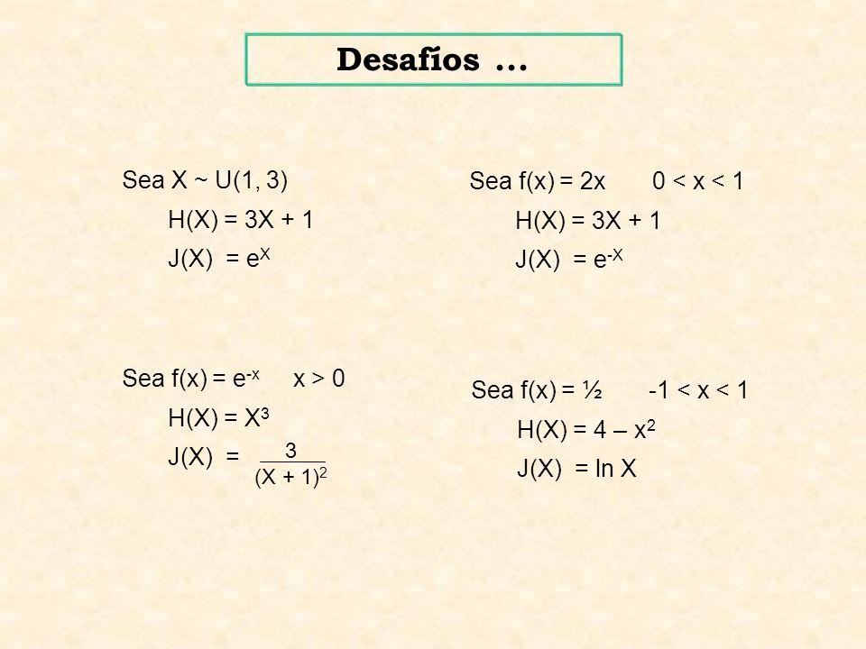 Desafíos ... Sea X ~ U(1, 3) Sea f(x) = 2x 0 < x < 1