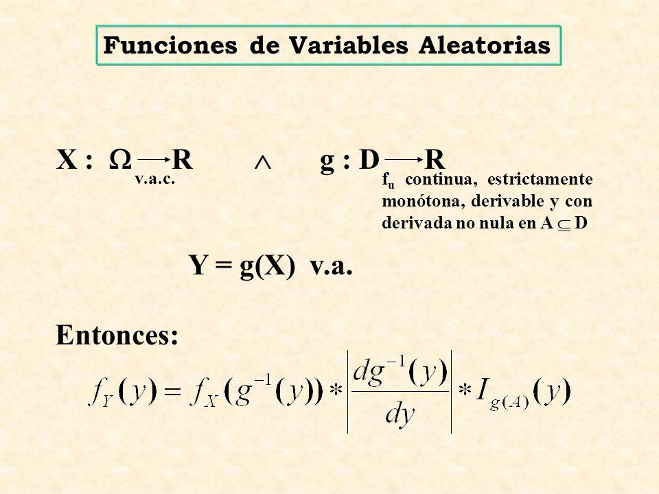 X :  R  g : D R Y = g(X) v.a. Entonces: