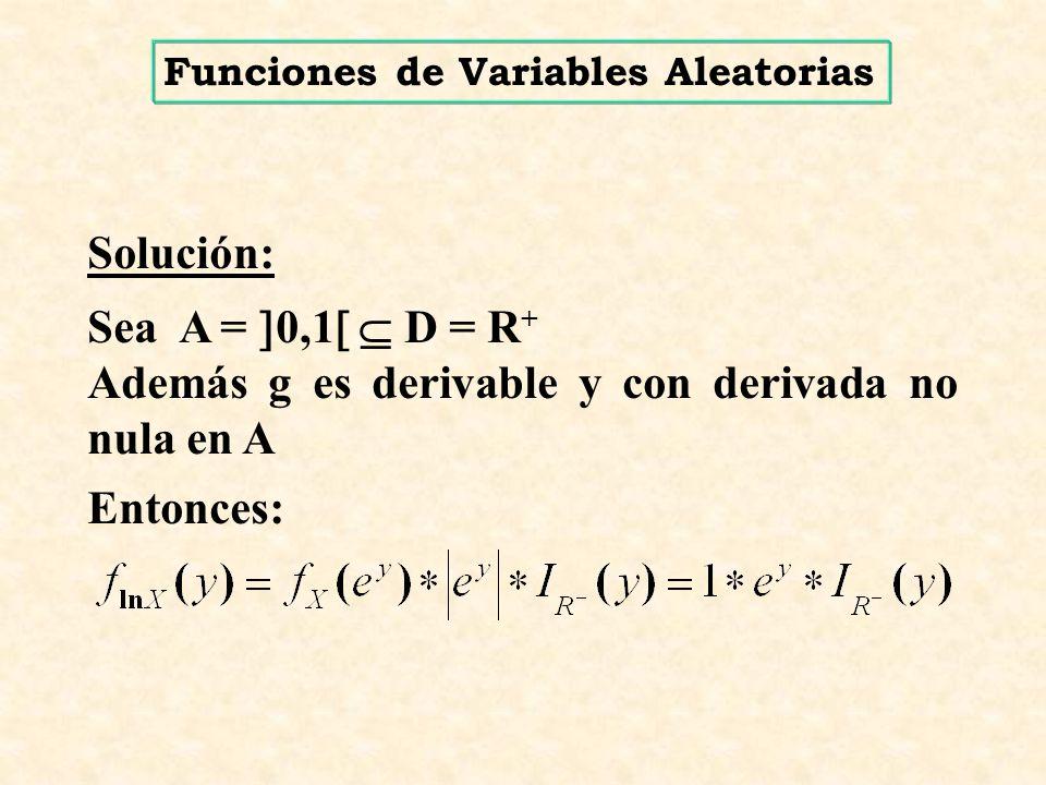Además g es derivable y con derivada no nula en A Entonces: