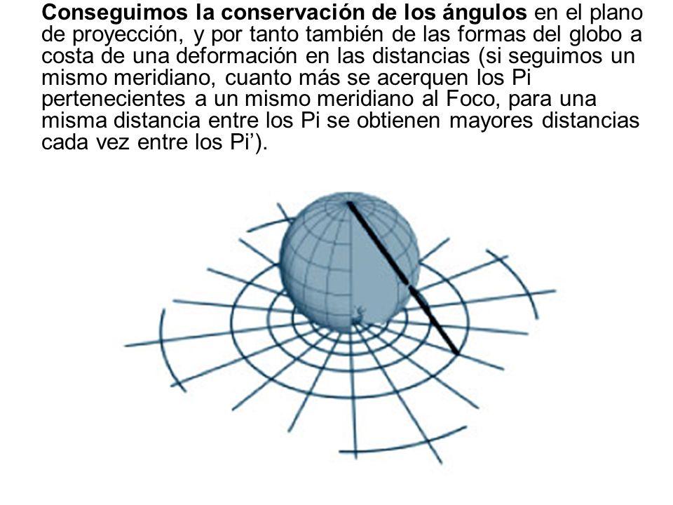 Conseguimos la conservación de los ángulos en el plano de proyección, y por tanto también de las formas del globo a costa de una deformación en las distancias (si seguimos un mismo meridiano, cuanto más se acerquen los Pi pertenecientes a un mismo meridiano al Foco, para una misma distancia entre los Pi se obtienen mayores distancias cada vez entre los Pi').