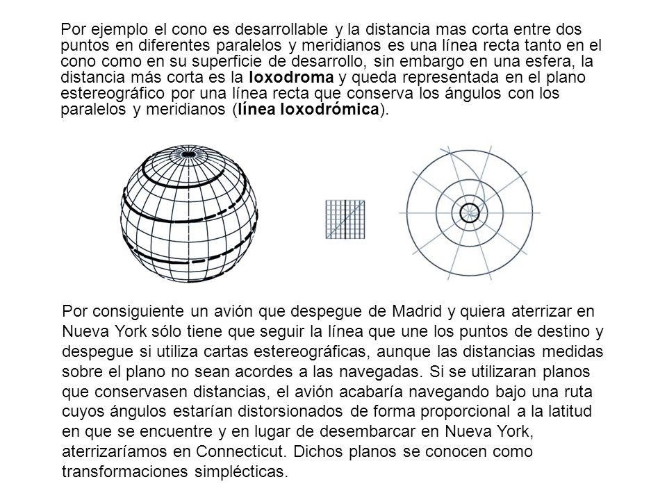 Por ejemplo el cono es desarrollable y la distancia mas corta entre dos puntos en diferentes paralelos y meridianos es una línea recta tanto en el cono como en su superficie de desarrollo, sin embargo en una esfera, la distancia más corta es la loxodroma y queda representada en el plano estereográfico por una línea recta que conserva los ángulos con los paralelos y meridianos (línea loxodrómica).