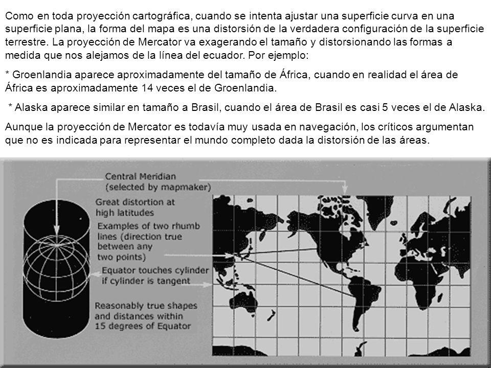 Como en toda proyección cartográfica, cuando se intenta ajustar una superficie curva en una superficie plana, la forma del mapa es una distorsión de la verdadera configuración de la superficie terrestre. La proyección de Mercator va exagerando el tamaño y distorsionando las formas a medida que nos alejamos de la línea del ecuador. Por ejemplo: