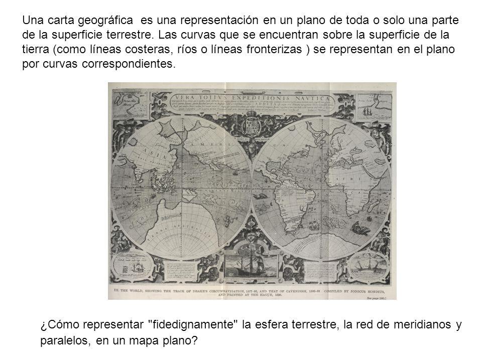 Una carta geográfica es una representación en un plano de toda o solo una parte de la superficie terrestre. Las curvas que se encuentran sobre la superficie de la tierra (como líneas costeras, ríos o líneas fronterizas ) se representan en el plano por curvas correspondientes.
