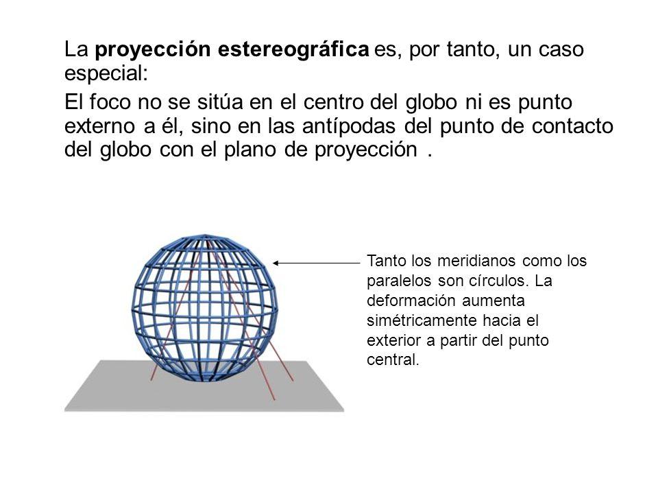 La proyección estereográfica es, por tanto, un caso especial: