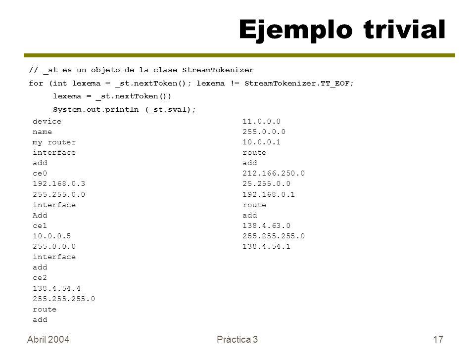 Ejemplo trivial Abril 2004 Práctica 3