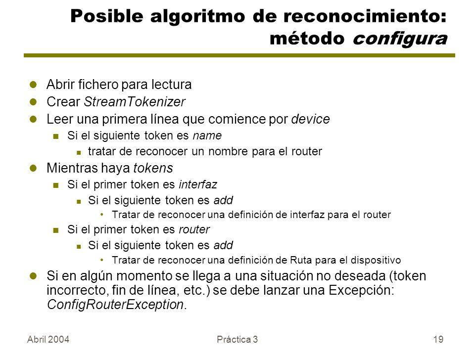 Posible algoritmo de reconocimiento: método configura