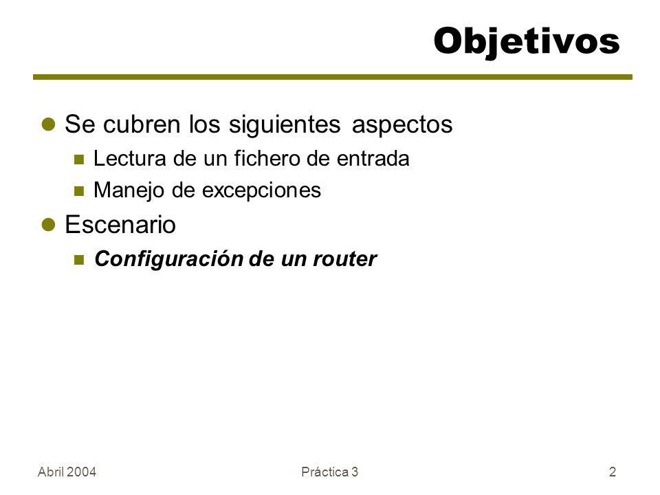 Objetivos Se cubren los siguientes aspectos Escenario