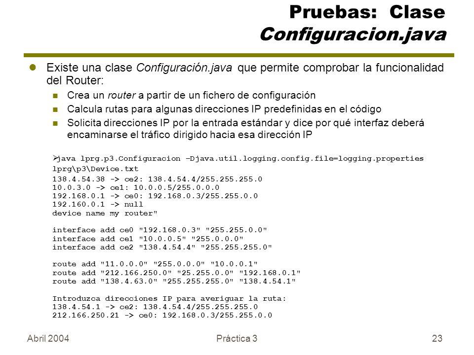 Pruebas: Clase Configuracion.java