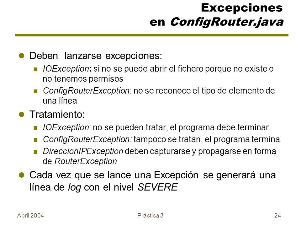 Excepciones en ConfigRouter.java