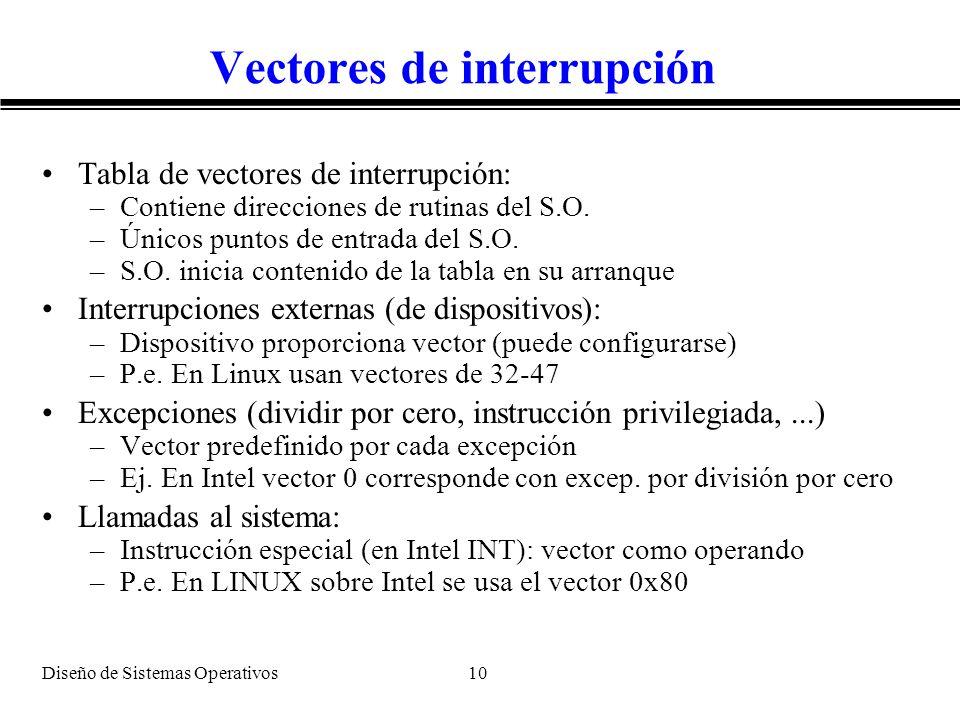 Vectores de interrupción