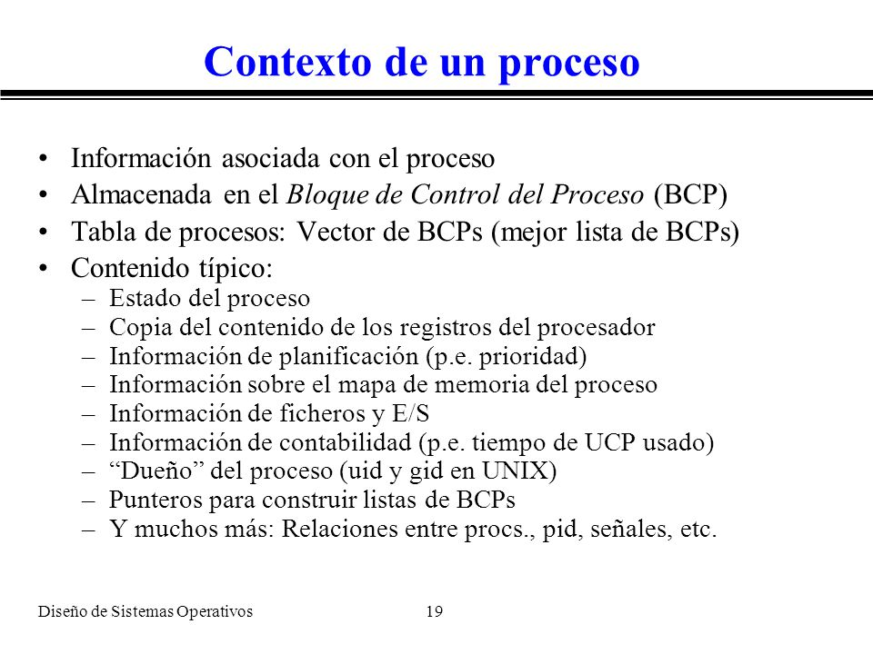 Contexto de un proceso Información asociada con el proceso