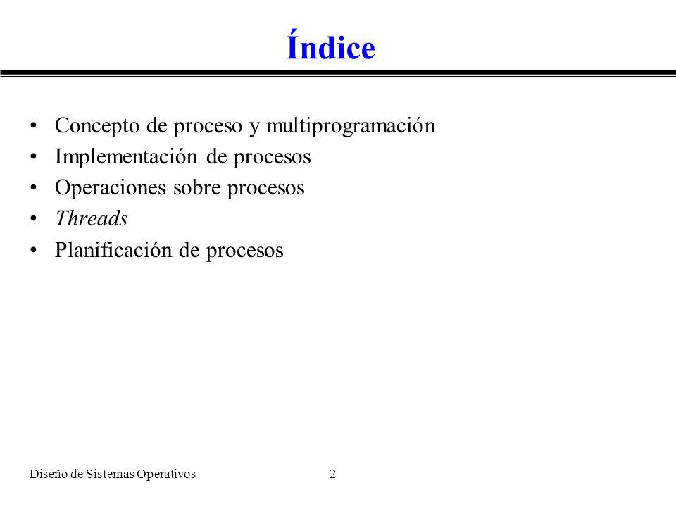 Índice Concepto de proceso y multiprogramación