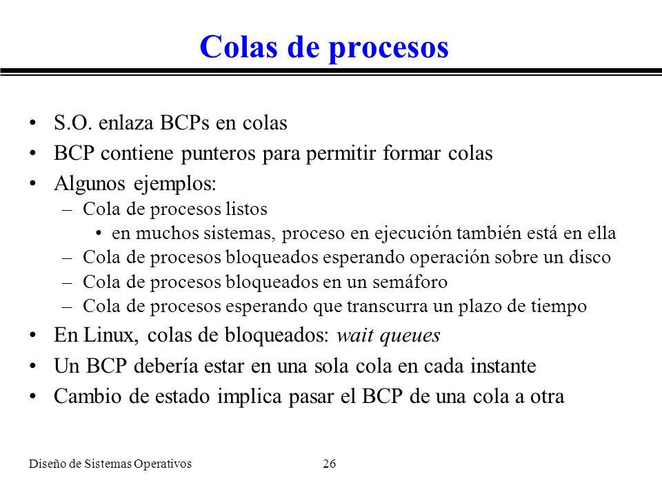 Colas de procesos S.O. enlaza BCPs en colas
