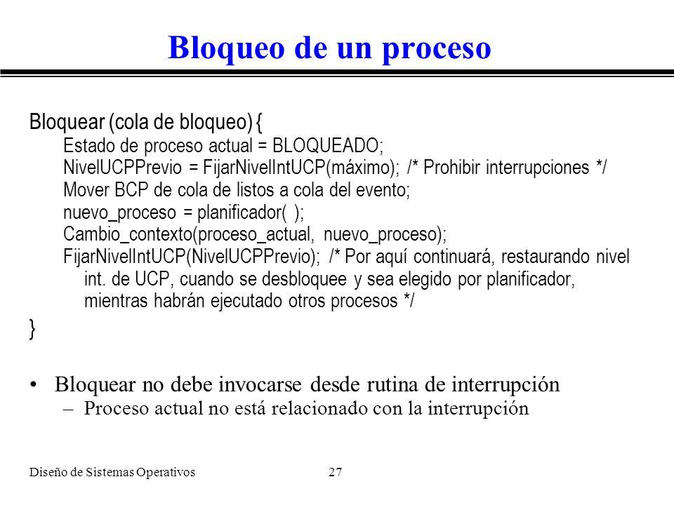 Bloqueo de un proceso Bloquear (cola de bloqueo) { }