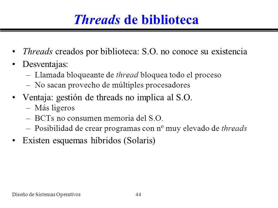 Threads de biblioteca Threads creados por biblioteca: S.O. no conoce su existencia. Desventajas: