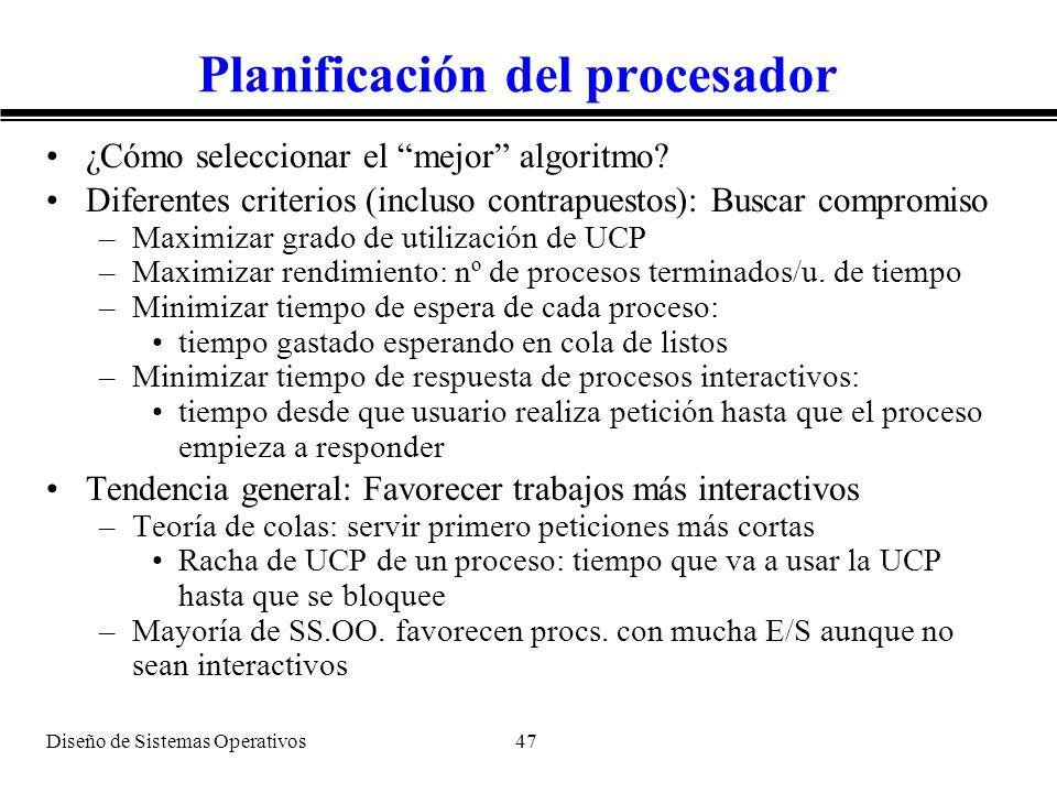 Planificación del procesador