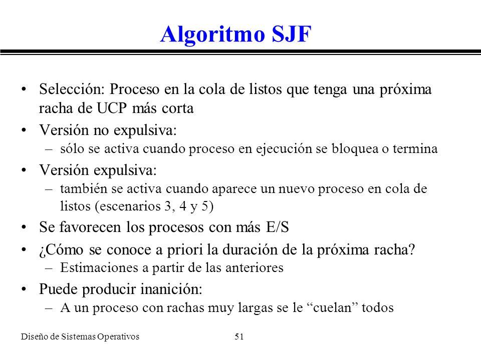 Algoritmo SJF Selección: Proceso en la cola de listos que tenga una próxima racha de UCP más corta.